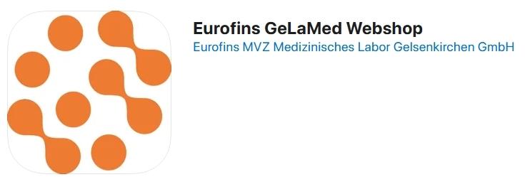 Logo des Eurofins GeLaMed Webshop, in dem der Corona Gurgeltest angeboten wird